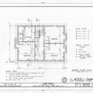 Second floor plan, Thomas Rhyne House, Gaston County, North Carolina
