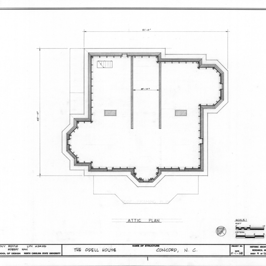 Attic plan, John Milton Odell House, Concord, North Carolina