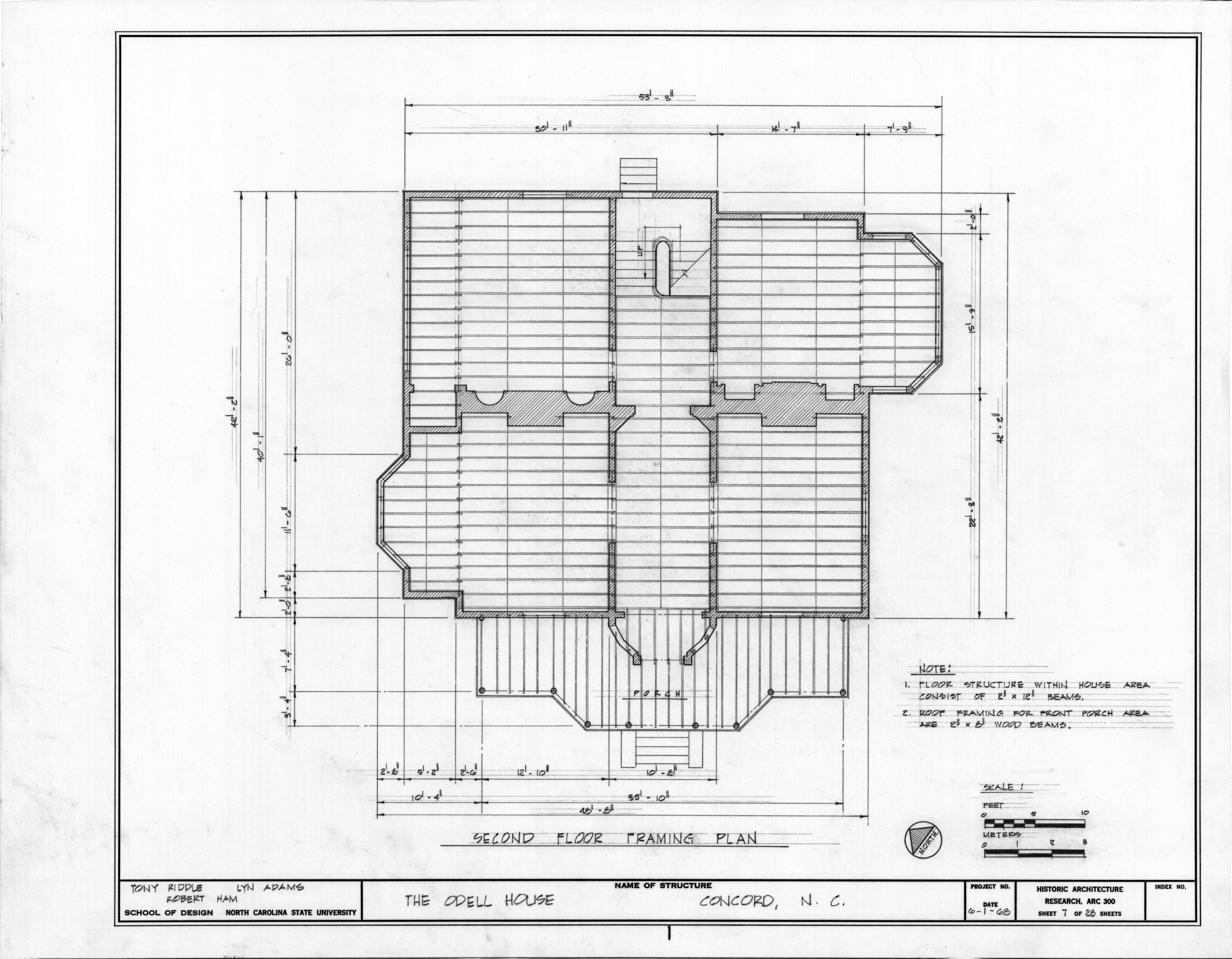 Second floor framing plan john milton odell house for Frame plan