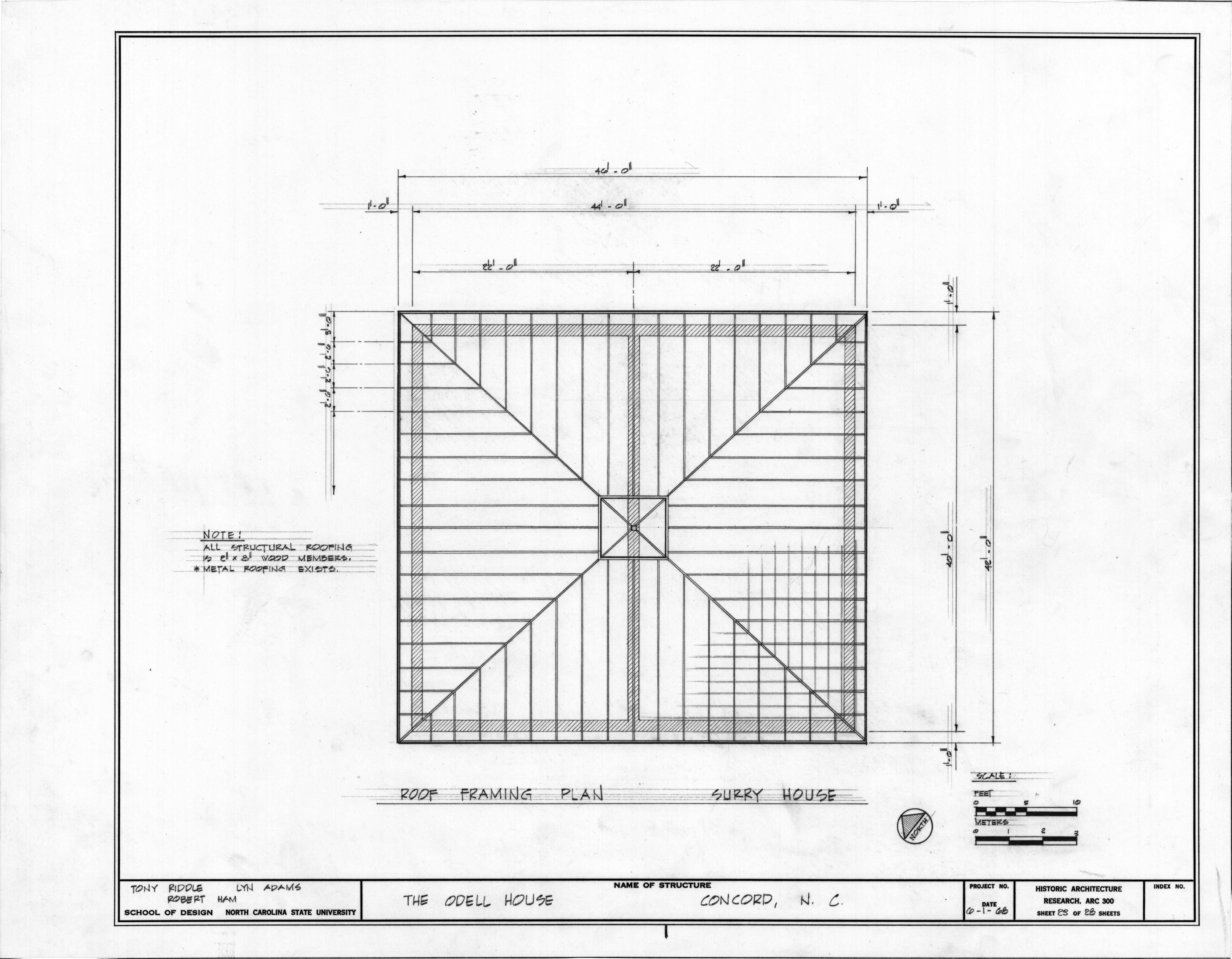 Roof framing plan of carriage house john milton odell for Roof plan drawing