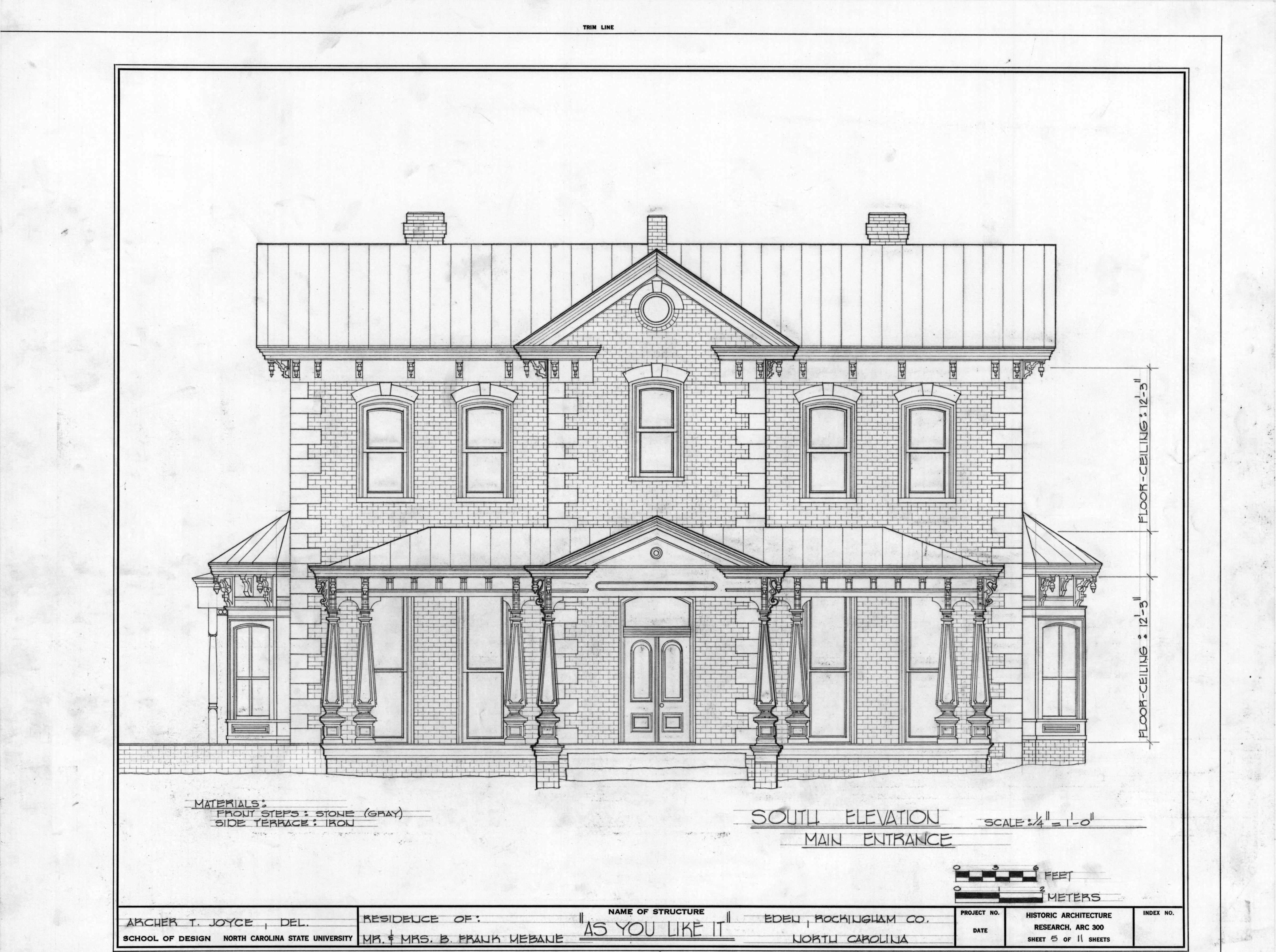 What Is A Front Elevation Drawing : South elevation morehead mebane house eden north