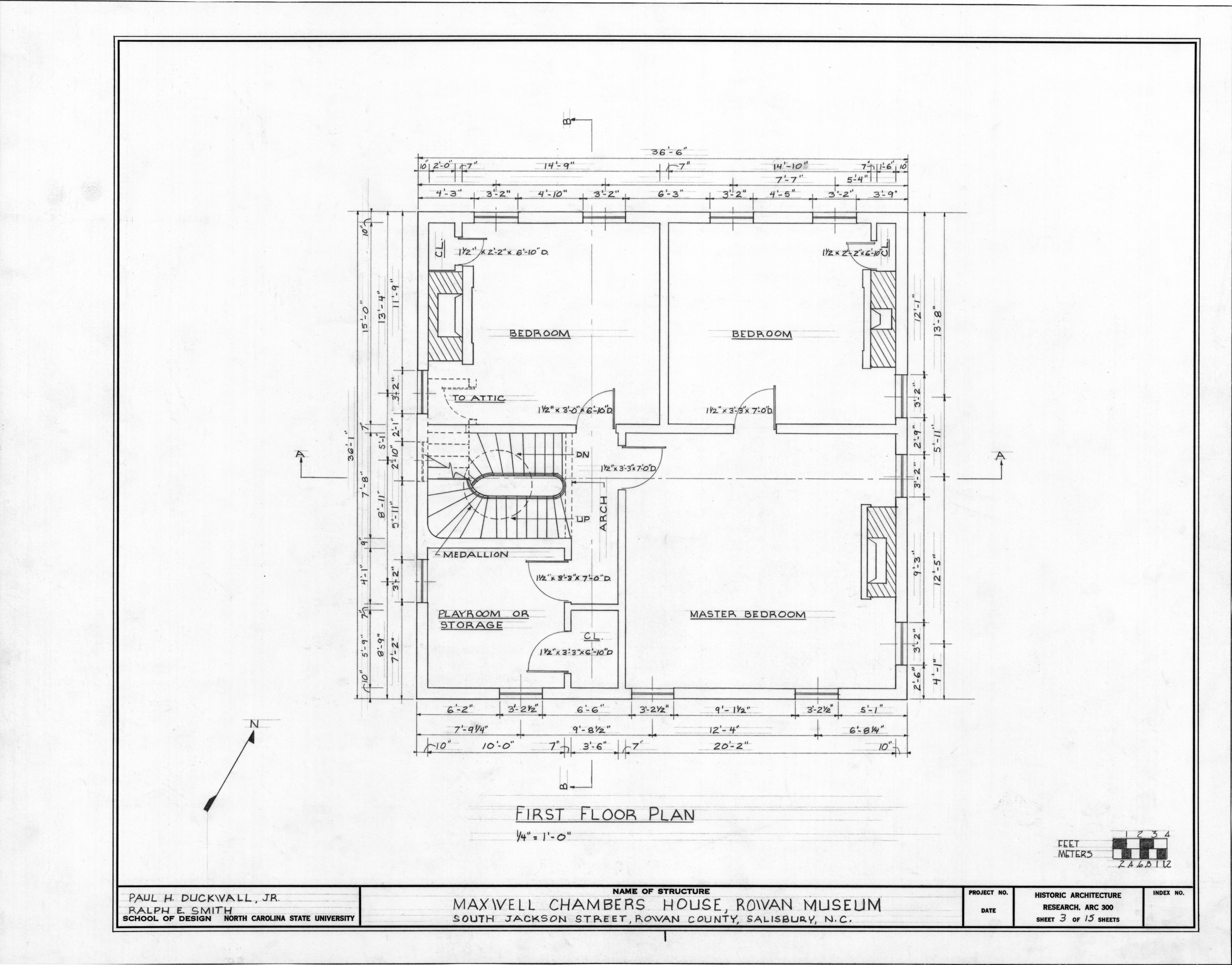 Second floor plan, Utzman-Chambers House, Salisbury, North