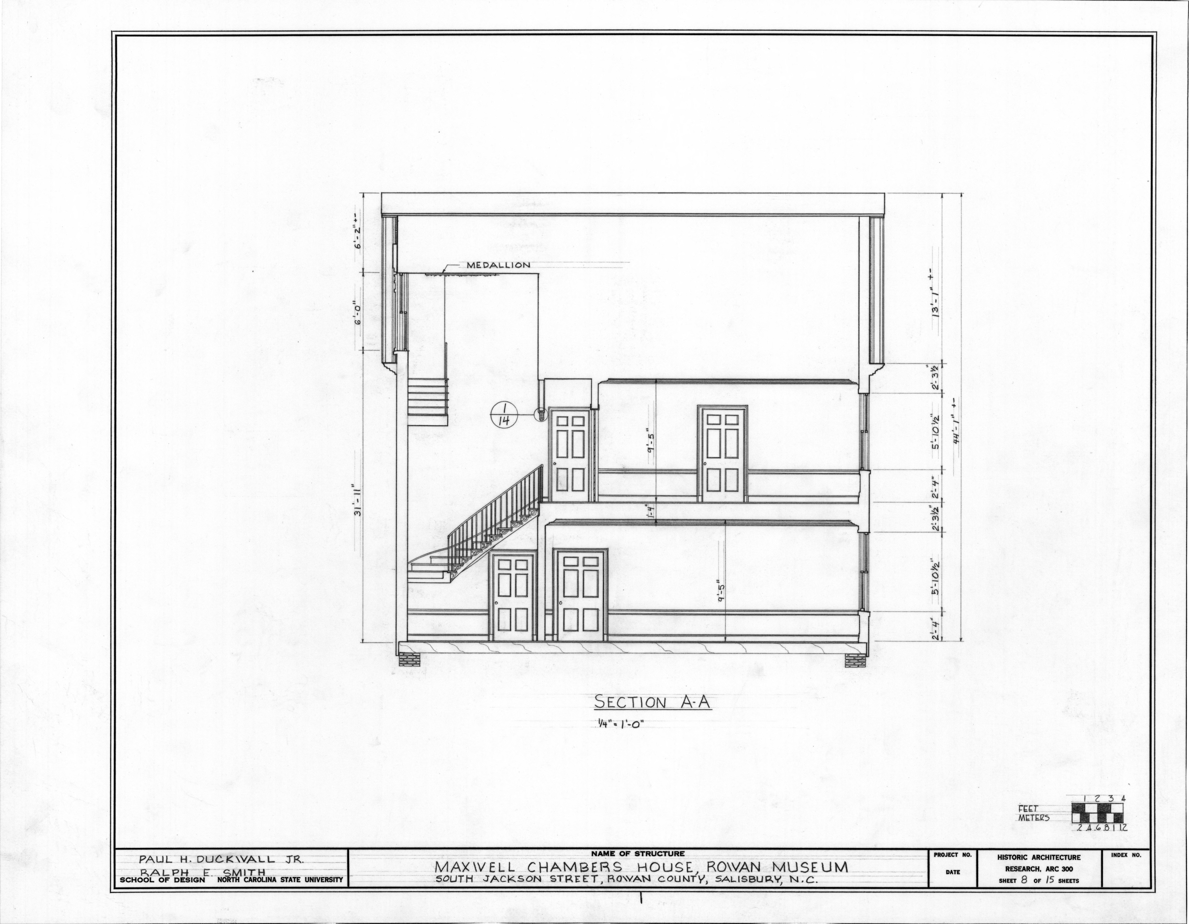 Longitudinal section, Utzman-Chambers House, Salisbury