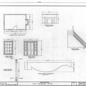 Details and kitchen plan, B. Frank Mebane House, Mebane, North Carolina