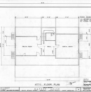 Attic plan, Barker-Moore House, Edenton, North Carolina