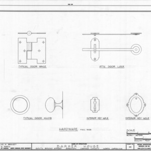 Door hardware details, Barker-Moore House, Edenton, North Carolina