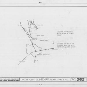 Location map, Matthew Moore House, Stokes County, North Carolina