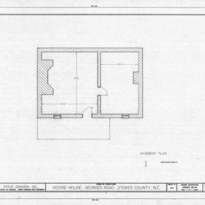 Basement plan, Matthew Moore House, Stokes County, North Carolina