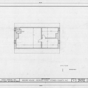 Attic plan, Matthew Moore House, Stokes County, North Carolina