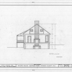 Cross section, Matthew Moore House, Stokes County, North Carolina