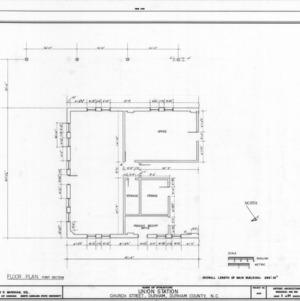 First section of  floor plan, Union Station, Durham, North Carolina