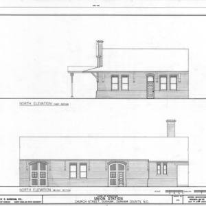 First and second sections of north elevation, Union Station, Durham, North Carolina