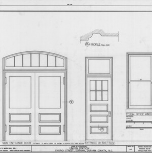 Door and window details, Union Station, Durham, North Carolina