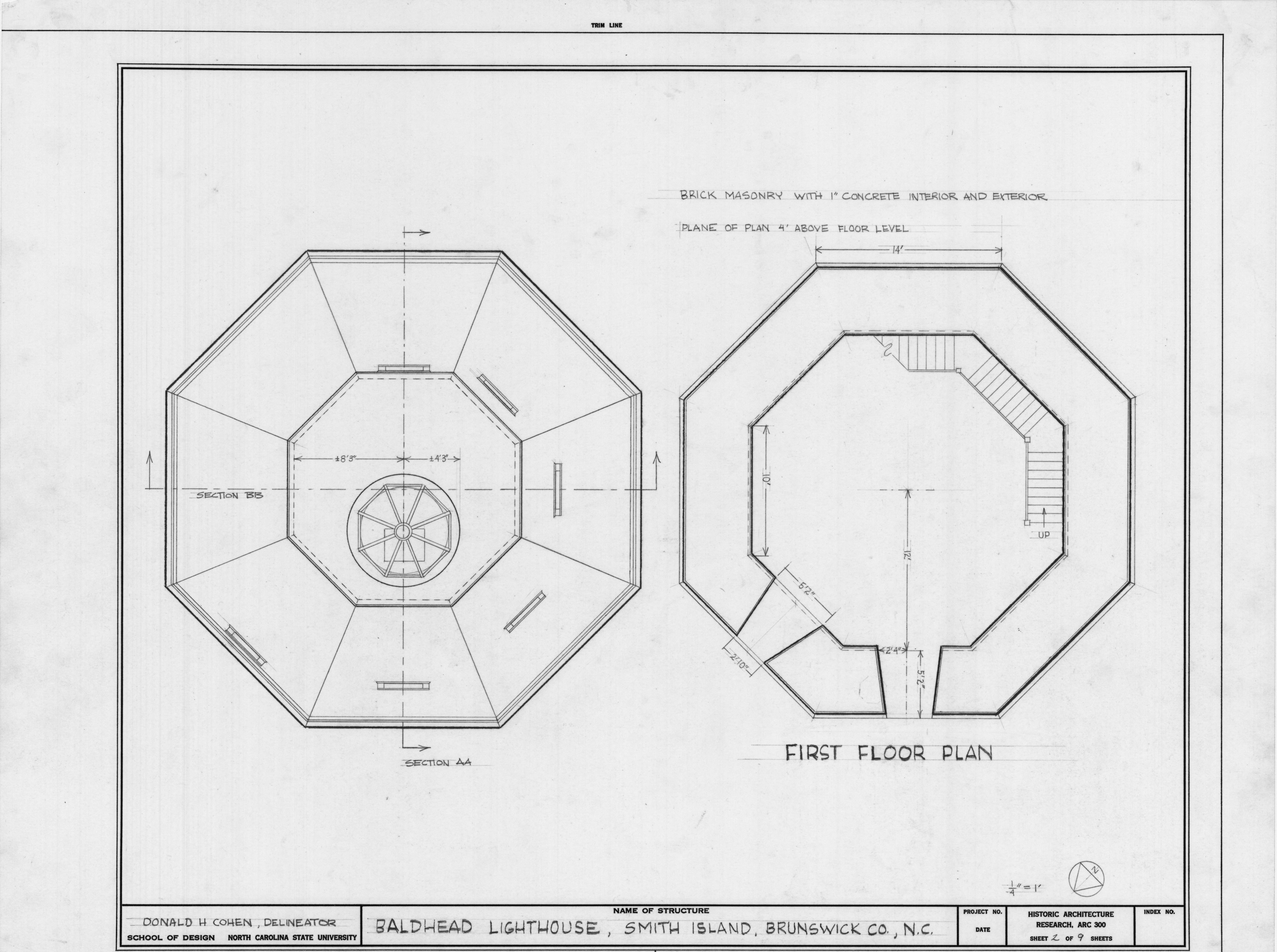 First floor plan bald head lighthouse brunswick county for Lighthouse blueprints plans