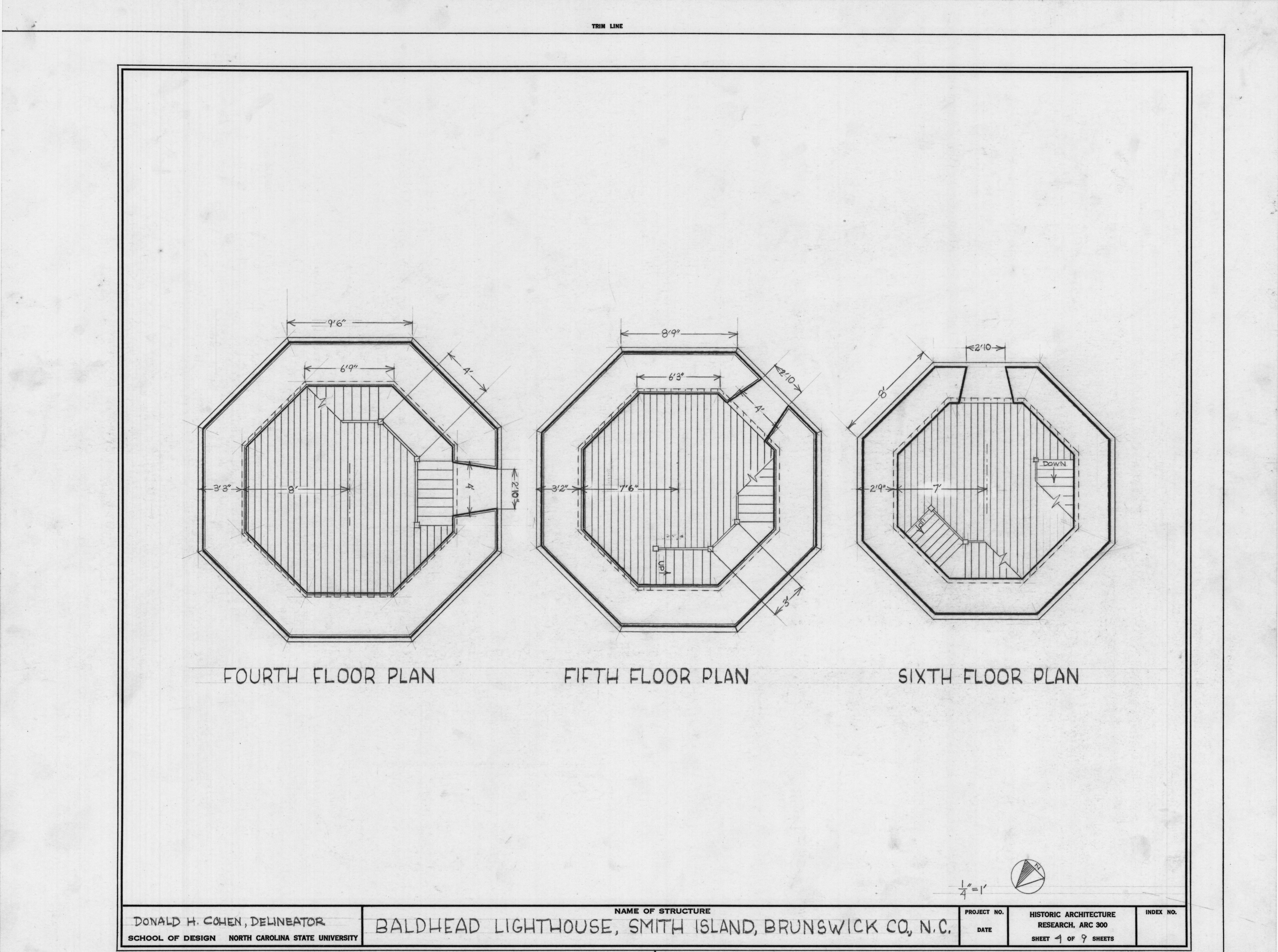 Fourth fifth and sixth floor plans bald head lighthouse for Lighthouse blueprints plans