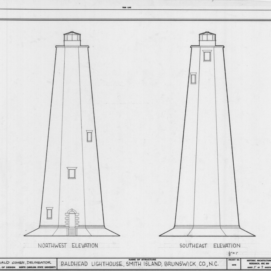 Northwest and southeast elevations, Bald Head Lighthouse, Brunswick County, North Carolina