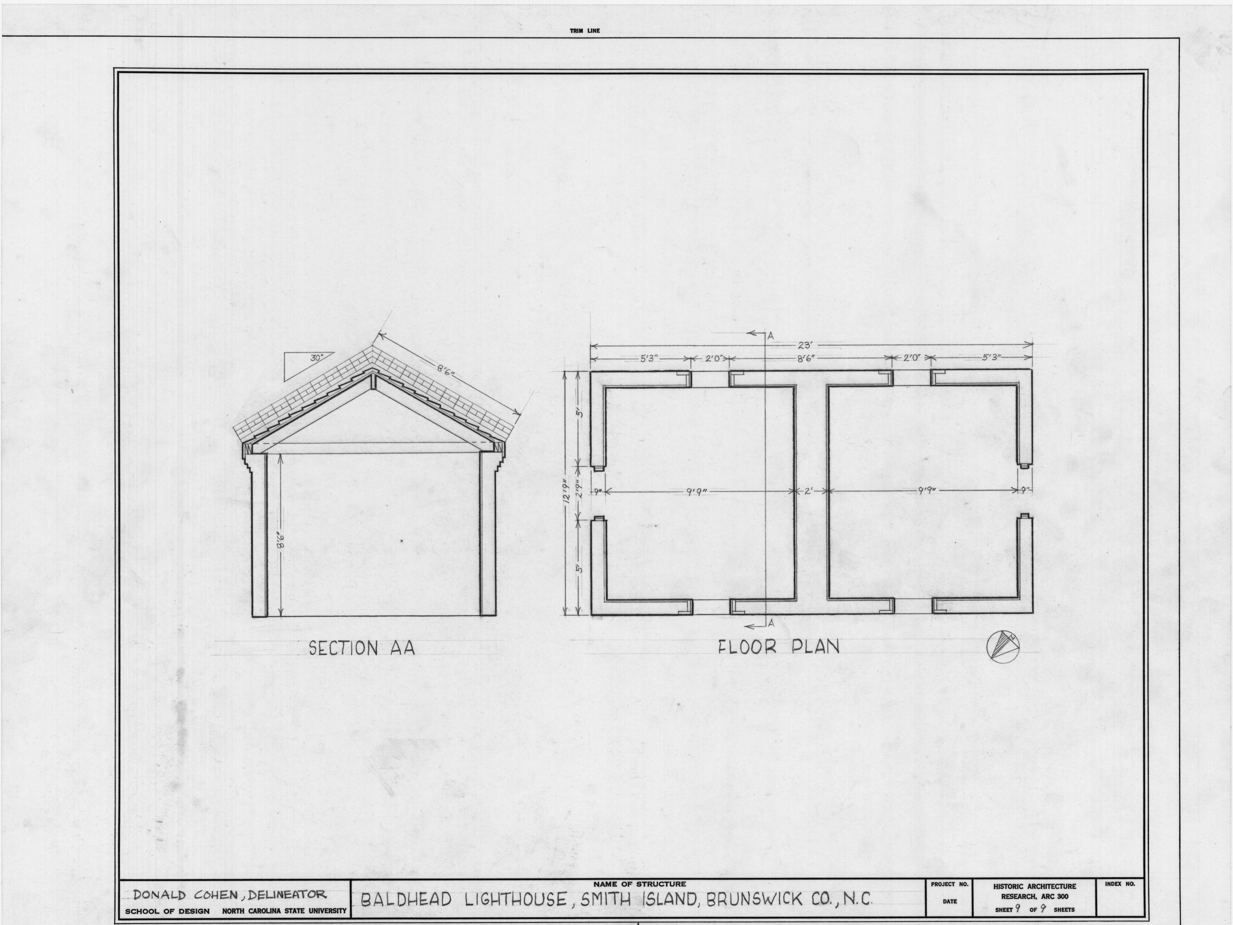 Keeper 39 s house cross section and floor plan bald head for Lighthouse house plans