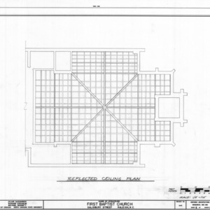 Ceiling plan, First Baptist Church, Raleigh, North Carolina
