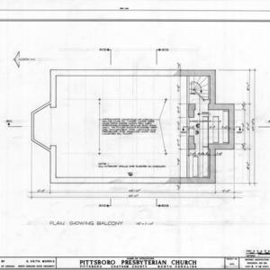 Balcony plan, Pittsboro Presbyterian Church, Pittsboro, North Carolina