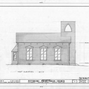 West elevation, Pittsboro Presbyterian Church, Pittsboro, North Carolina
