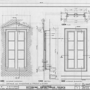 Window details, Pittsboro Presbyterian Church, Pittsboro, North Carolina