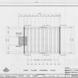 First floor framing plan, Coffey Log House, Pineville, North Carolina