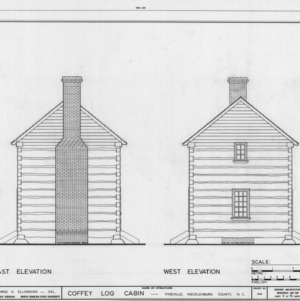 East and west elevations, Coffey Log House, Pineville, North Carolina
