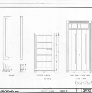 Column, window, and door details, I. H. Foust House, Randolph County, North Carolina