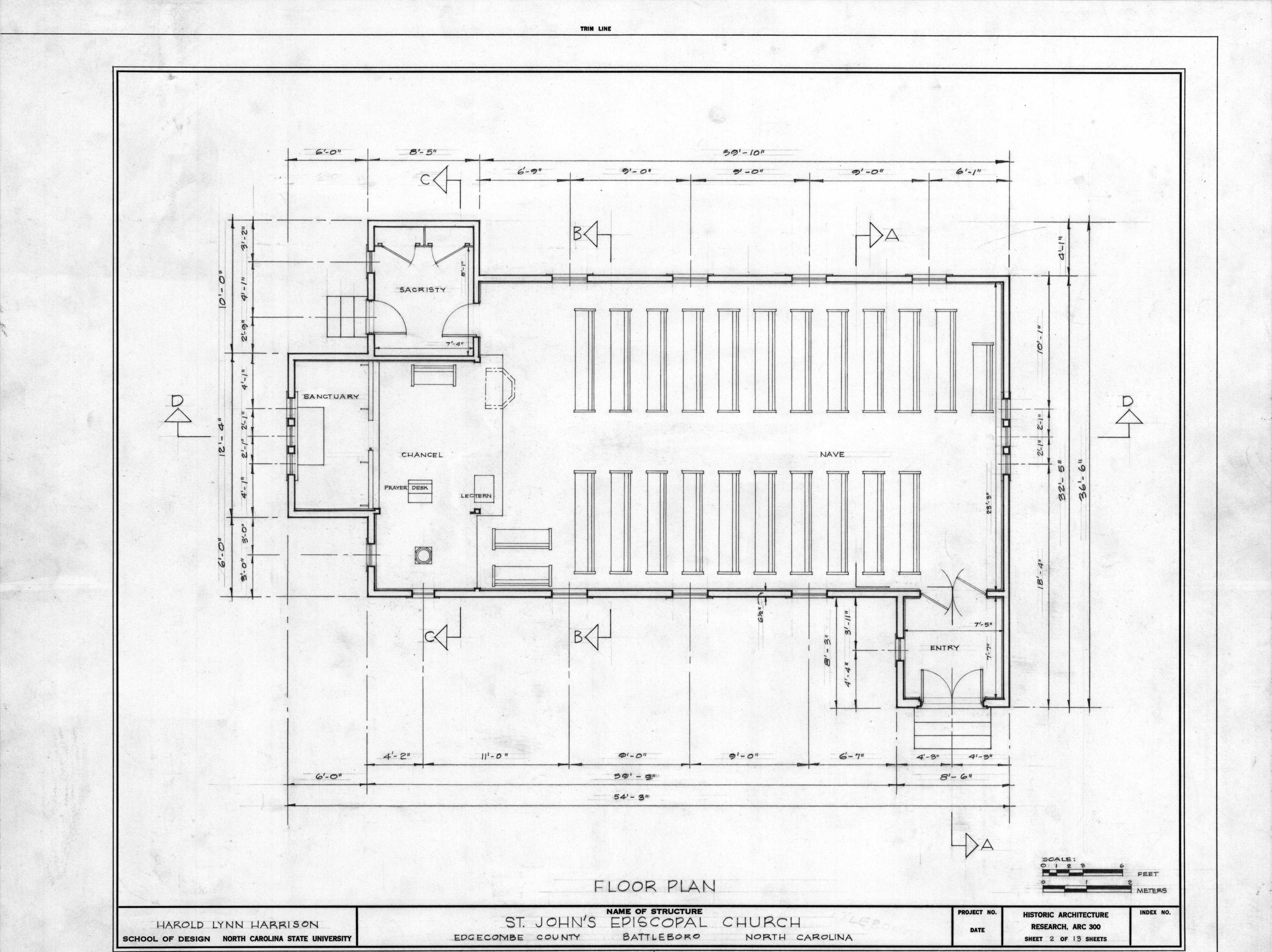 Floor plan st john 39 s episcopal church battleboro north for Floor plan church