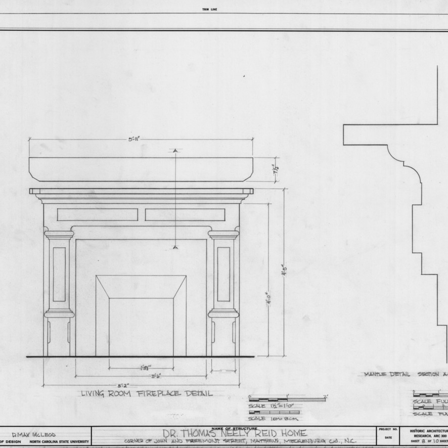Fireplace details, Reid House, Matthews, North Carolina