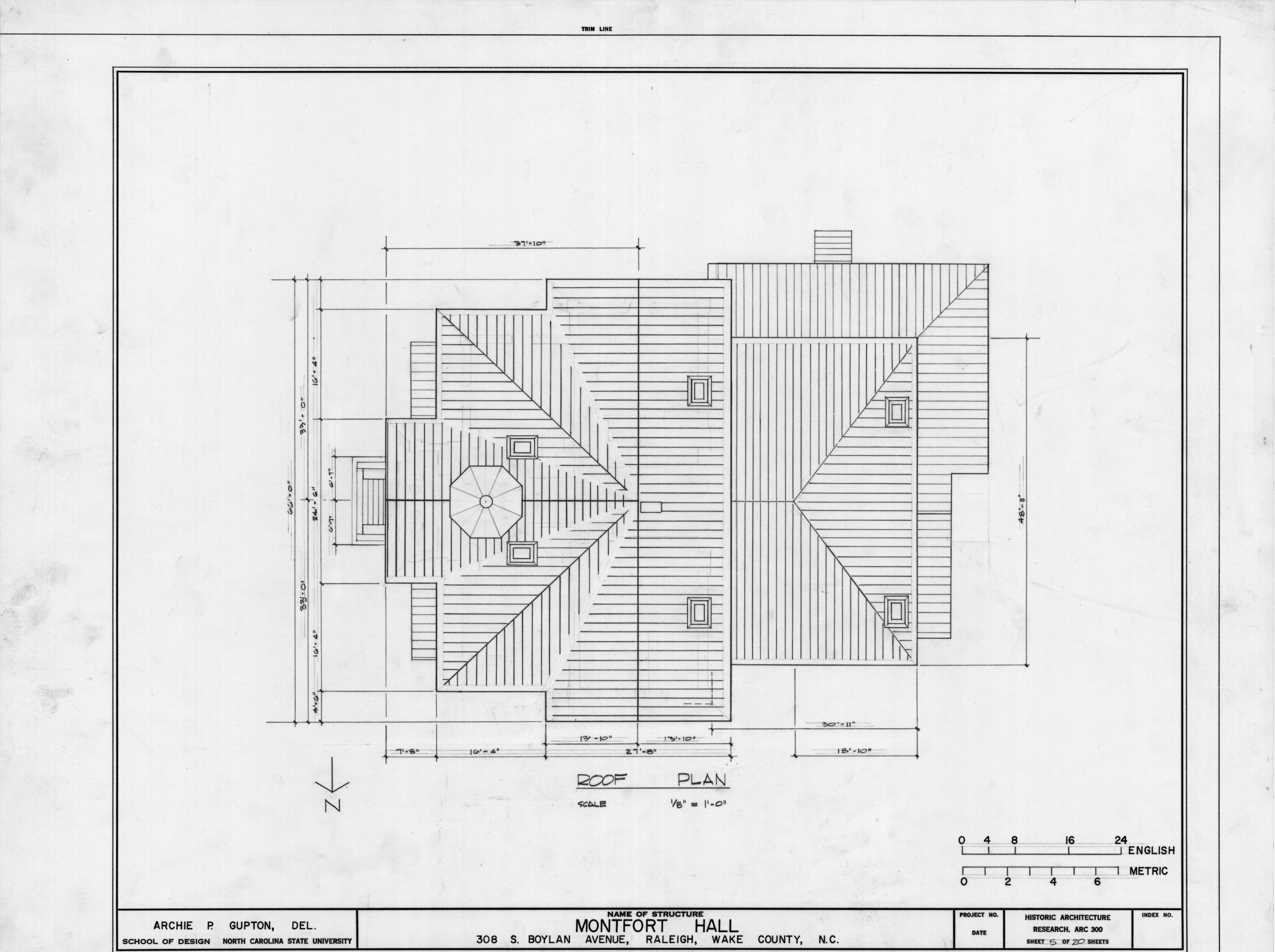 Roof Plan Montfort Hall Raleigh North Carolina