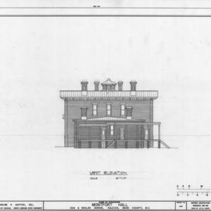 West elevation, Montfort Hall, Raleigh, North Carolina