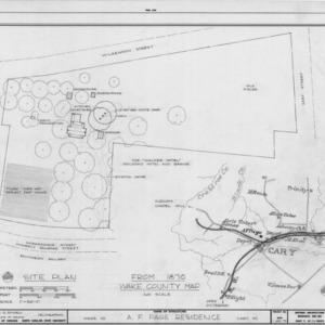 Site plan and 1870 location map, Ambassador Walter Hines Page Birthplace, Cary, North Carolina
