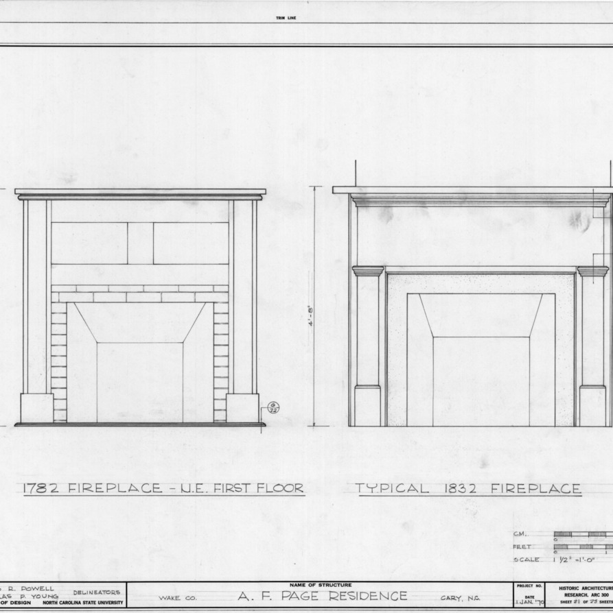 Fireplace details, Ambassador Walter Hines Page Birthplace, Cary, North Carolina