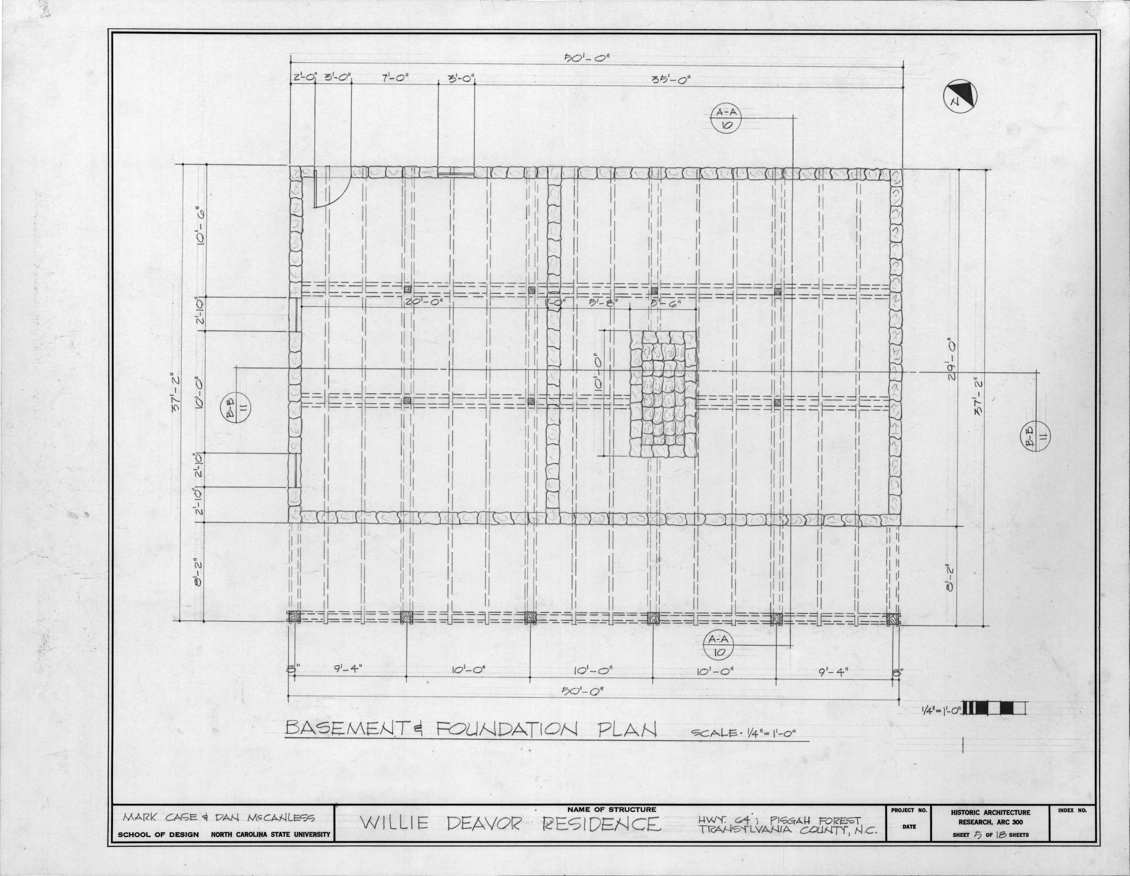 Foundation Plan Allison Deaver House Transylvania County