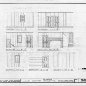Bedroom interior elevations, Allison-Deaver House, Transylvania County, North Carolina