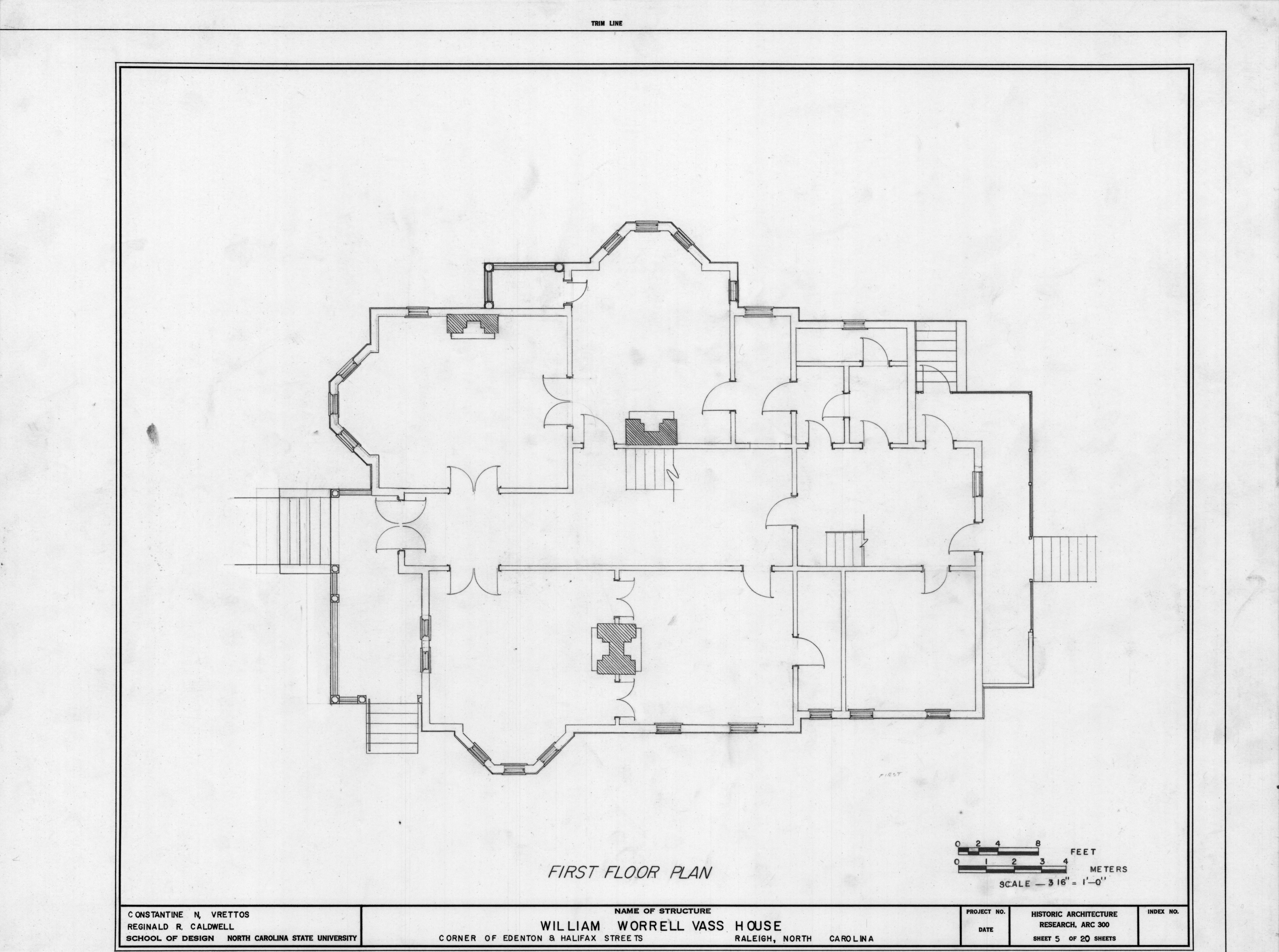 First Floor Plan William Worrell Vass House Raleigh