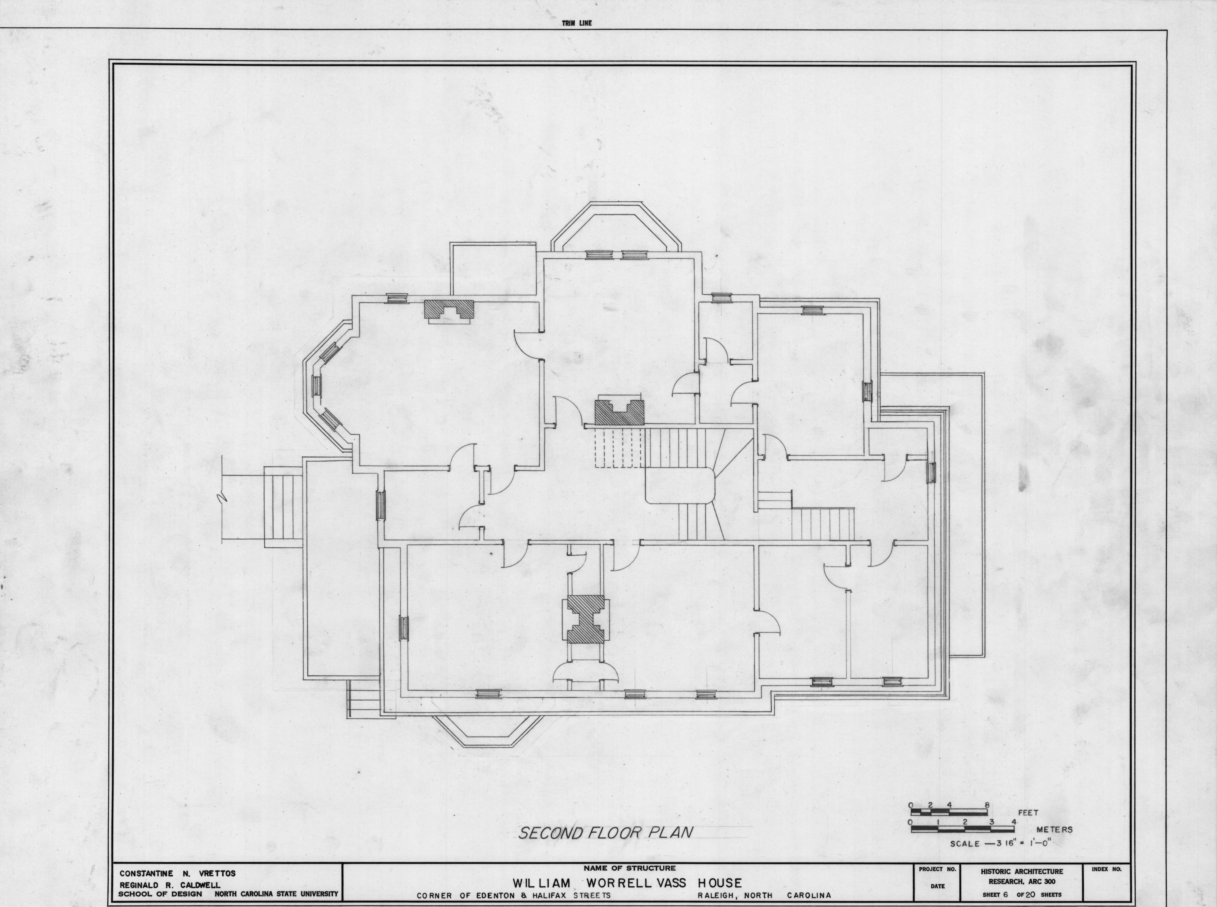 Second floor plan william worrell vass house raleigh for Historic second empire house plans