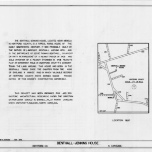 Notes and location map, Benthall-Jenkins House, Hertford County, North Carolina