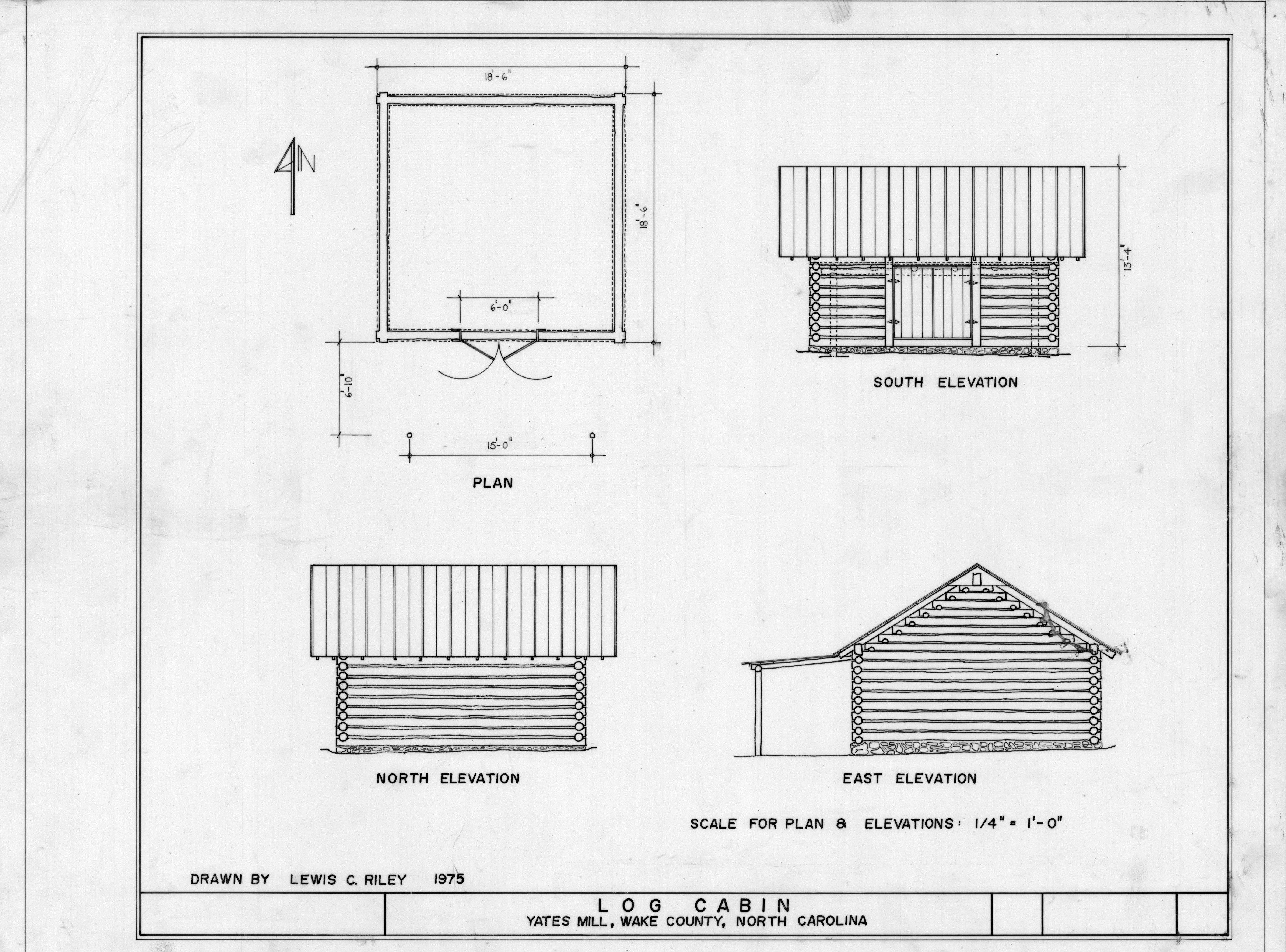 Elevation Plan Scale : Floor plan and elevations log cabin yates mill wake