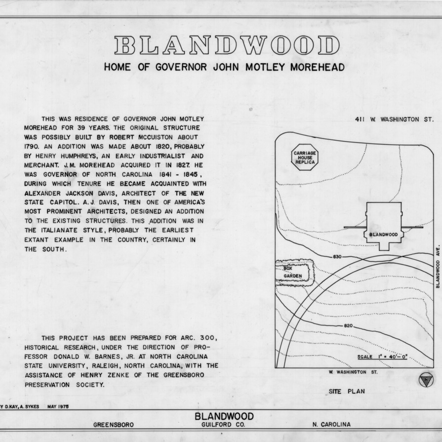 Title page with notes and site plan, Blandwood, Greensboro, North Carolina