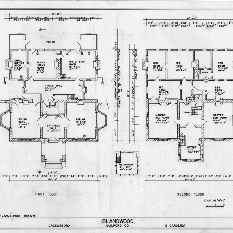 Floor plans, Blandwood, Greensboro, North Carolina