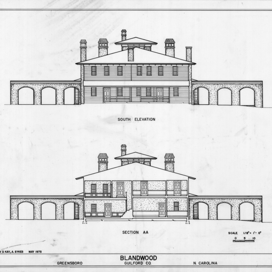 South elevation and cross section, Blandwood, Greensboro, North Carolina