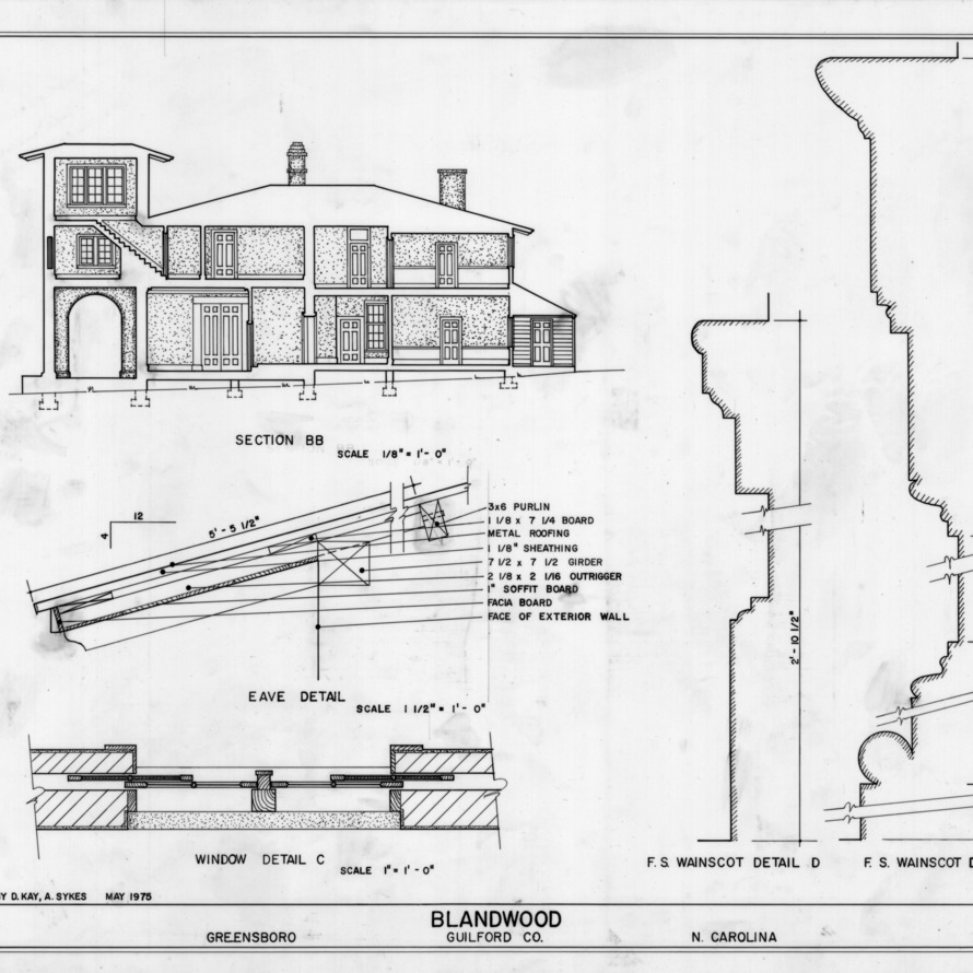 Longitudinal section and details, Blandwood, Greensboro, North Carolina