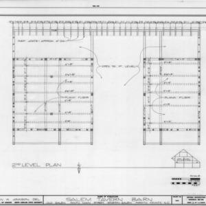 Second floor plan, Salem Tavern Barn, Winston-Salem, North Carolina