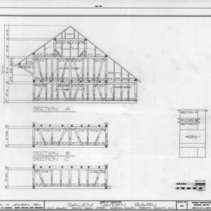 Cross and partial sections, Salem Tavern Barn, Winston-Salem, North Carolina