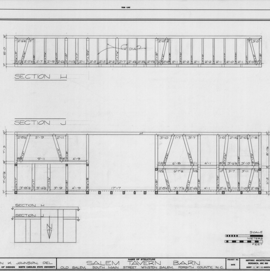 Partial longitudinal sections, Salem Tavern Barn, Winston-Salem, North Carolina
