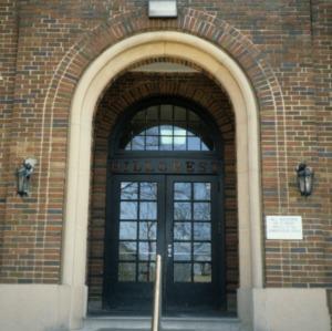 Entrance detail, Hillcrest Elementary School, Burlington, Alamance County, North Carolina