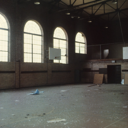 Interior view, gymnasium, Claremont High School, Hickory, Catawba County, North Carolina