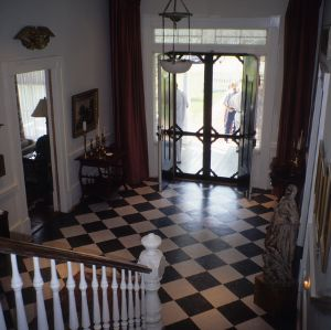 Interior view with doorway and stairs, Haughton-McIver House, Gulf, Chatham County, North Carolina